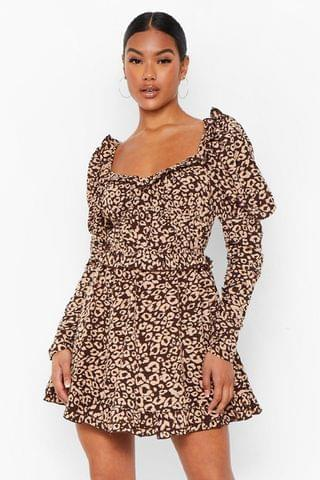 WOMEN Leopard Print Ruched Bodice Skater Dress