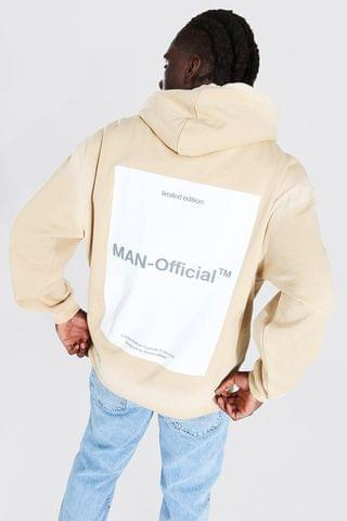 MEN Oversized MAN Official Dyed Seam Back Print Hoodie