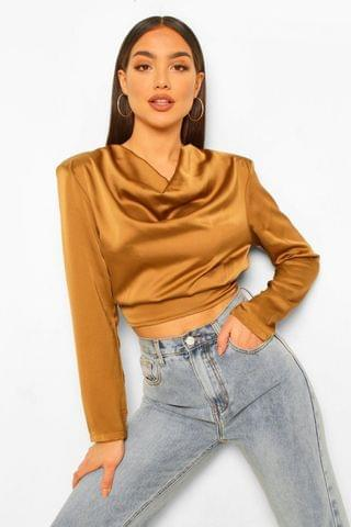 WOMEN Satin Cowl Neck Shoulder Pad Blouse