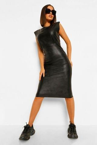 WOMEN Leather Look Shoulder Pad Midi Dress