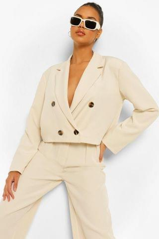 WOMEN Double Breasted Oversized Cropped Blazer