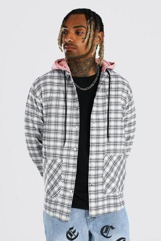 MEN Checked Shirt With Contrast Hood