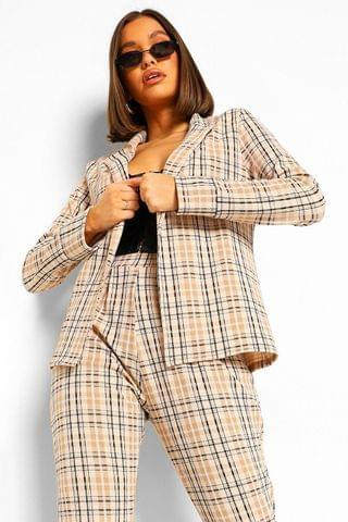 WOMEN Tonal Check Tailored Blazer And Trouser Co-ord Suit