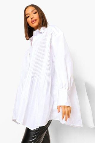 WOMEN Super Oversized Pleat Front White Shirt