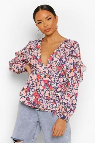 WOMEN Mixed Floral Ruffle Wrap Blouse
