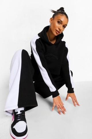 WOMEN Embroidered Colour Block Wide Leg Cropped Tracksuit