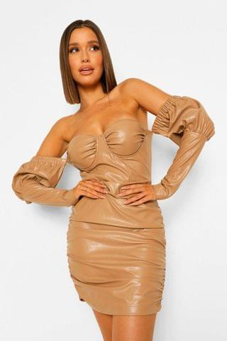 WOMEN Faux Leather Ruched Cupped Dress