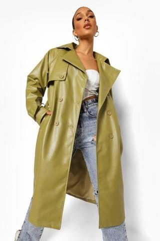 WOMEN Tall Faux Leather Trench Coat