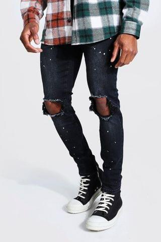 MEN Skinny Stretch Paint Splatter Exploded Knee Jean