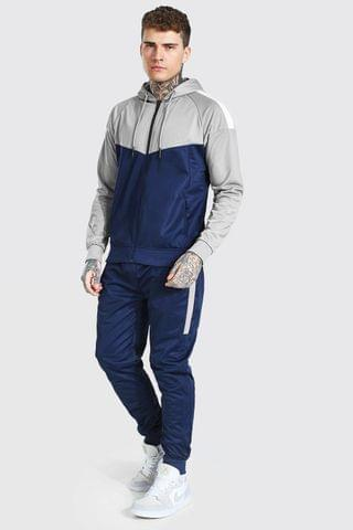 MEN Poly Colour Block Zip Hooded Tracksuit