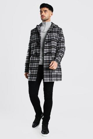 MEN CHECK DUFFLE COAT WITH TOGGLES