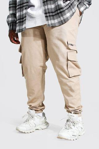 MEN Plus Size Zip Detail Woven Cargo Joggers