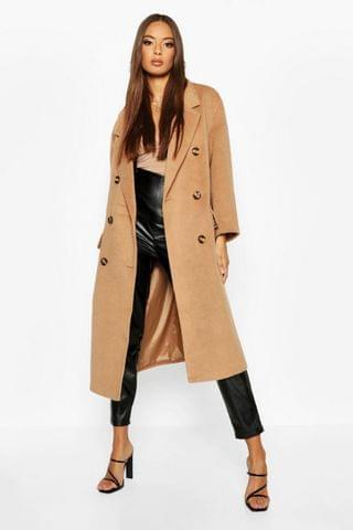 WOMEN Brushed Double Breasted Belted Wool Look Coat