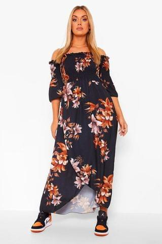 WOMEN Plus Autumn Floral Bardot Maxi Dress