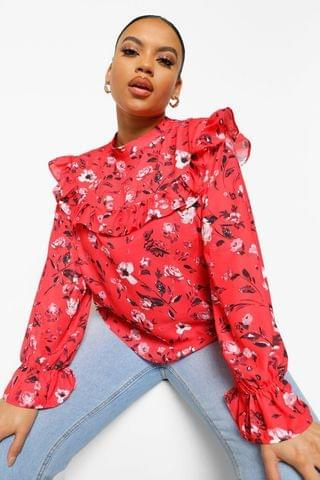 WOMEN Plus Floral Tiered Smock Top