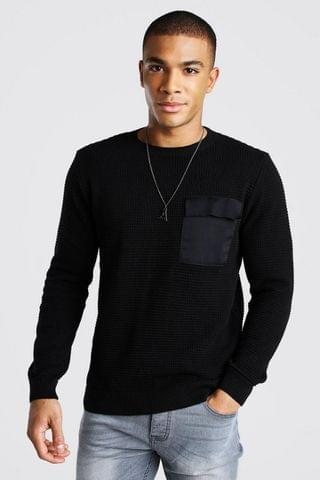 MEN Waffle Knit Utility Jumper With Pocket