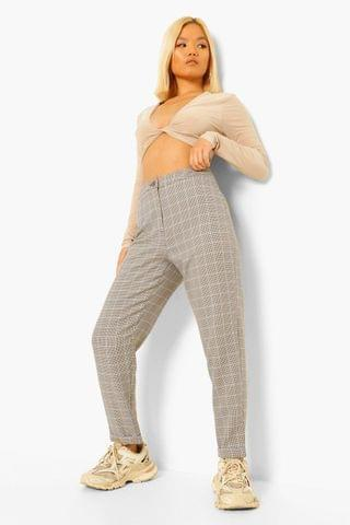 WOMEN Petite Check Tapered Trousers