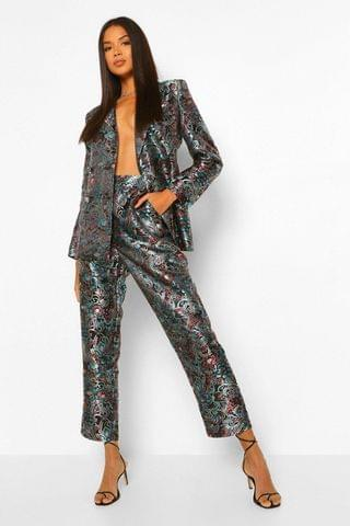 WOMEN Tailored Oriental Jacquard Tapered Trouser