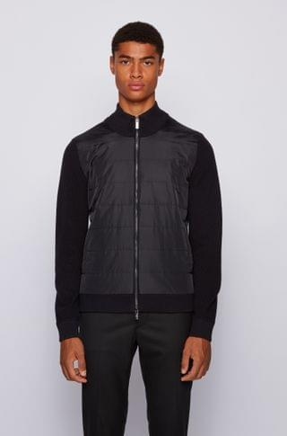 MEN Hybrid zip-through cardigan with padded front panel