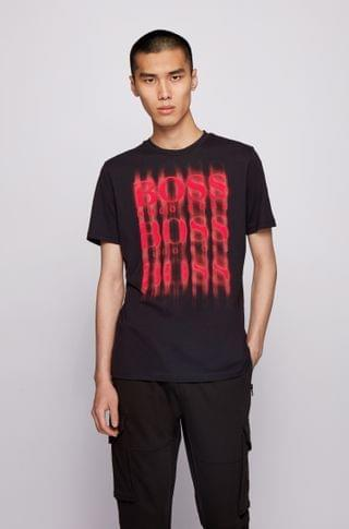 MEN Crew-neck T-shirt in cotton with blurred-style logo