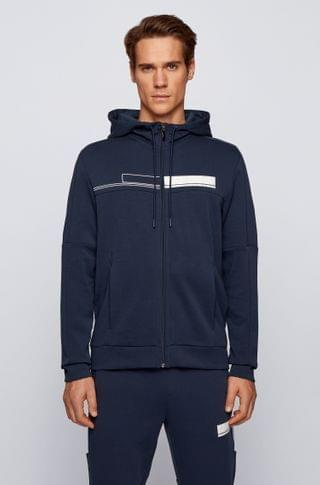 MEN Hooded zip-through sweatshirt with block-print logo
