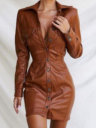 WOMEN Buttoned Flap Detail PU Leather Bodycon Dress