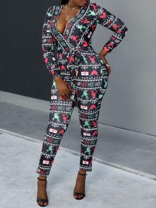 WOMEN Christmas Mixed Print Plunge Long Sleeve Jumpsuit