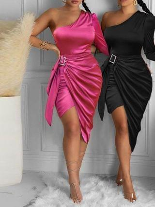WOMEN Satin One Shoulder Ruched Party Dress