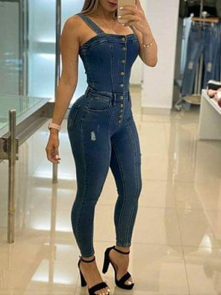 WOMEN Button Solid Color Skinny Jean Pants
