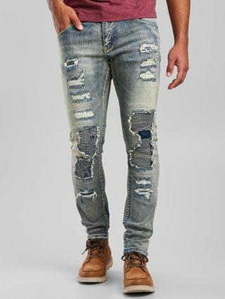 MEN Crysp Denim Rivera Moto Skinny Stretch Jean