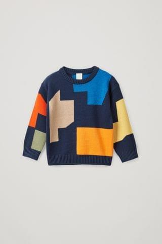 KIDSS COLOR-BLOCK COTTON-WOOL SWEATER
