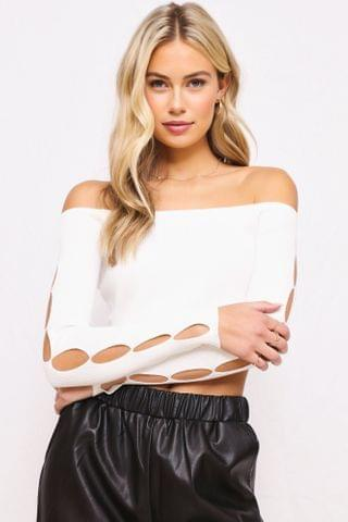 WOMEN Aryanna Cut Out Long Sleeve Crop Top - Off White