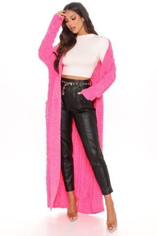 WOMEN Tall Cuddling Is My Hobby Cardigan Sweater - Hot Pink