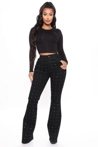 WOMEN Sparkle In The Moonlight Rhinestone Flare Jeans - Black