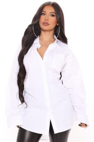 WOMEN Conquer The Day Oversized Shirt - White