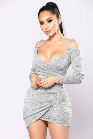 WOMEN Get Together Party Dress - Heather Grey