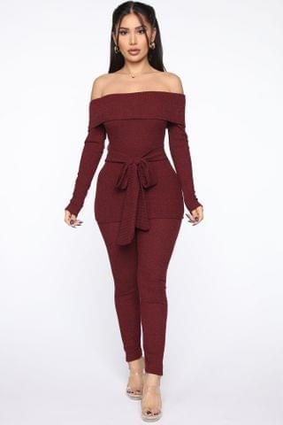 WOMEN Chill And Stay Pant Set - Burgundy
