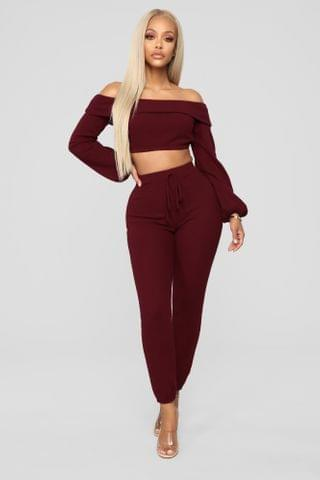WOMEN It's Just You And I Pant Set - Wine