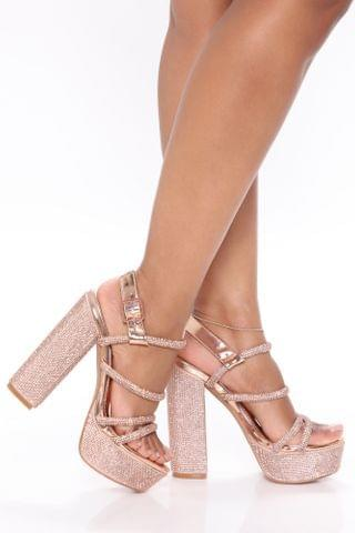 WOMEN She Has Class Platform Heels - Rose Gold
