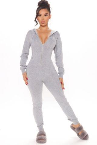 WOMEN Meet Me At The Mall Sweater Jumpsuit - Charcoal