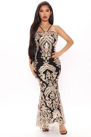 WOMEN Krissy Maxi Dress - Black/Gold