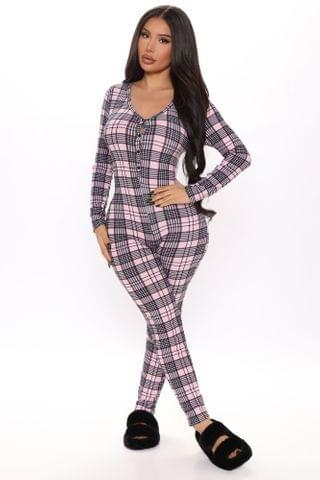 WOMEN Plaid The Game Jumpsuit PJ Onesie - Pink/combo