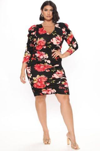 WOMEN Garden Delight Ruched Mini Dress - Red/combo