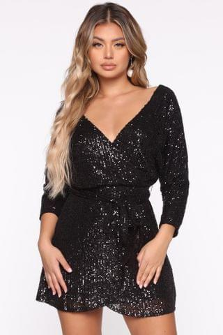 WOMEN Try To Outshine Me Sequin Mini Dress - Black