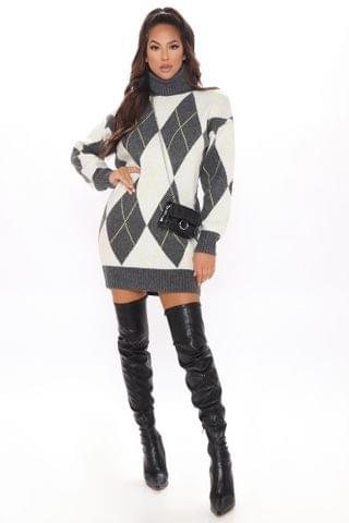 WOMEN Ready For Winter Sweater Dress - Charcoal/combo