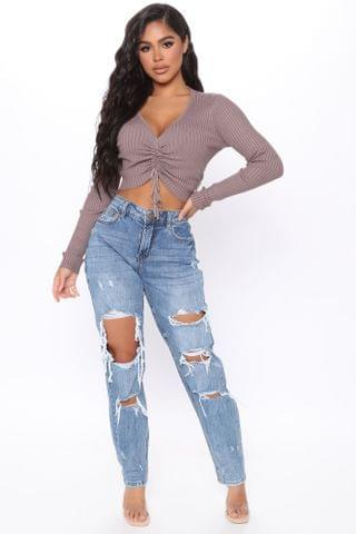 WOMEN Genna Mid Rise Boyfriend Jeans - Medium Blue Wash