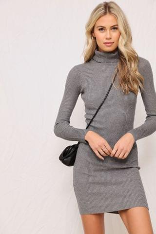 WOMEN Lisa Ribbed Mini Dress - Heather Grey