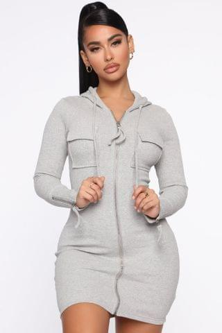 WOMEN Right And Tight Hooded Mini Dress - Heather Grey