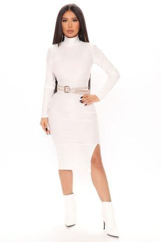 WOMEN Slit Down Honey Turtleneck Midi Dress - White