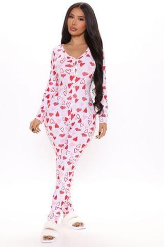 WOMEN Full Of Love PJ Jumpsuit Onesie - Red/White